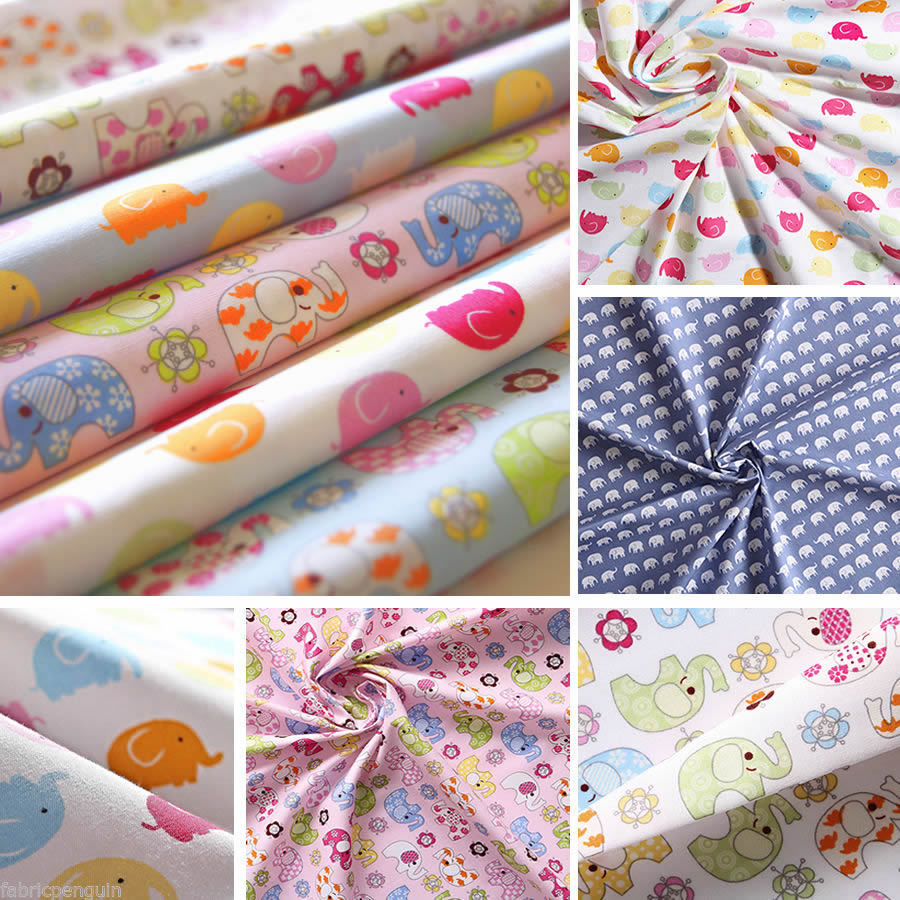 Elephants fabric 100 cotton per metre fat quarter nursery for Childrens fabric bundles