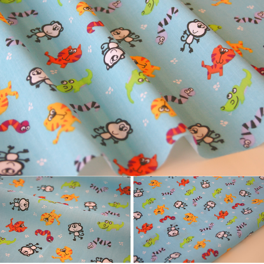 Zoo animals fabric children 39 s nursery kids poly cotton for Nursery fabric uk