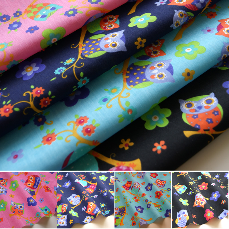 Owls fabric polycotton children 39 s novelty animal theme for Kids novelty fabric