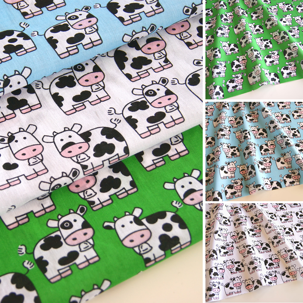 Cows fabric print polycotton 45 white blue green children for Animal print fabric for kids