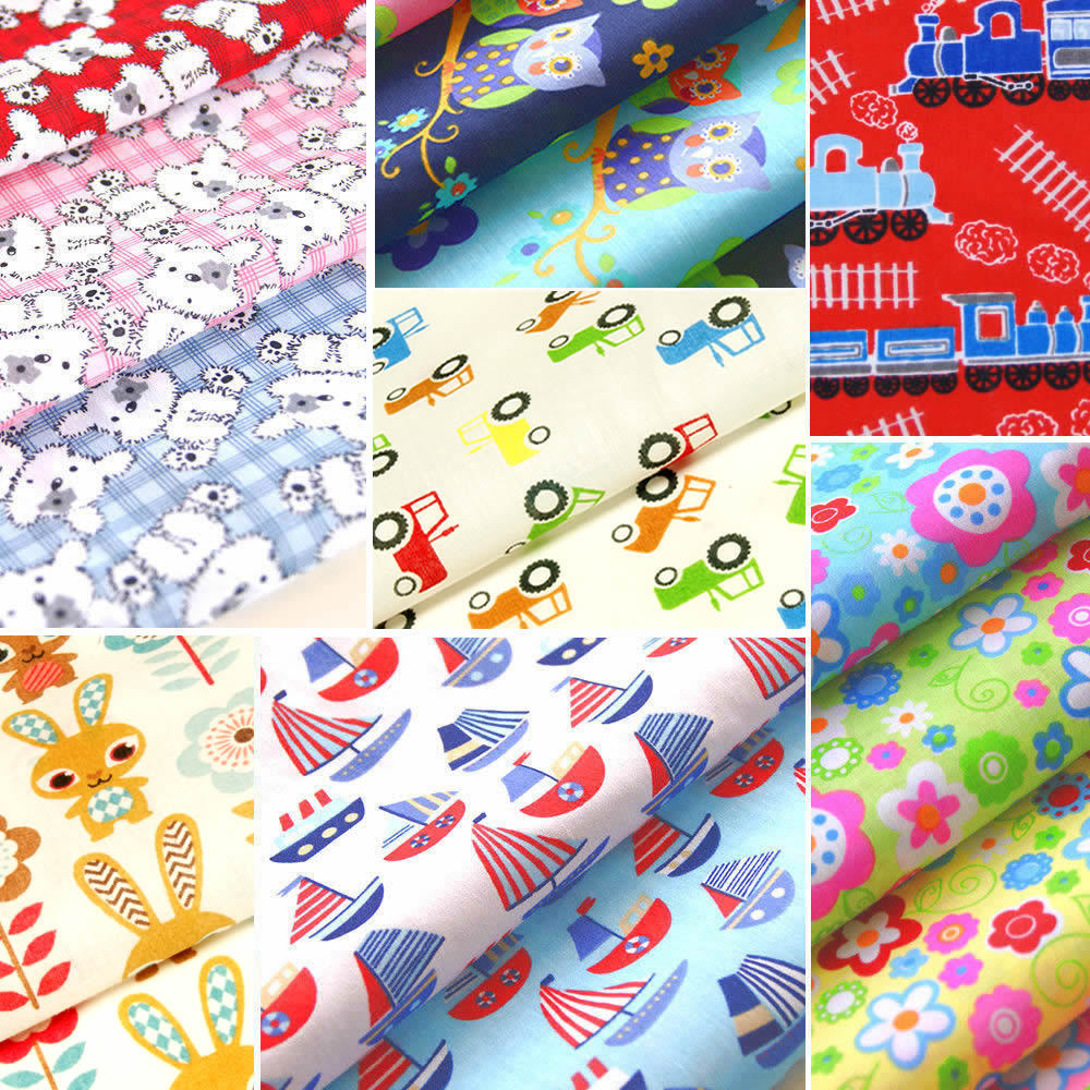 Childrens fabric nursery kids baby polycotton material boy for Children s cotton dress fabric