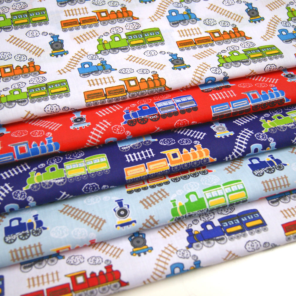 Childrens fabric trains kids baby nursery polycotton for Train themed fabric